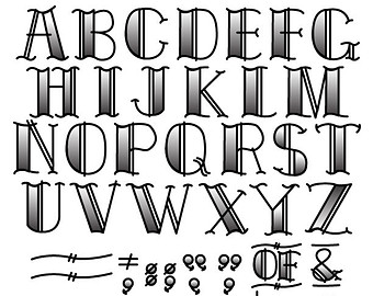 Tattoo Clip Art Clipart Fonts Vector Let-Tattoo Clip Art Clipart Fonts Vector Lettering Clip Art Set - Personal or Commercial Use Royalty Free-18