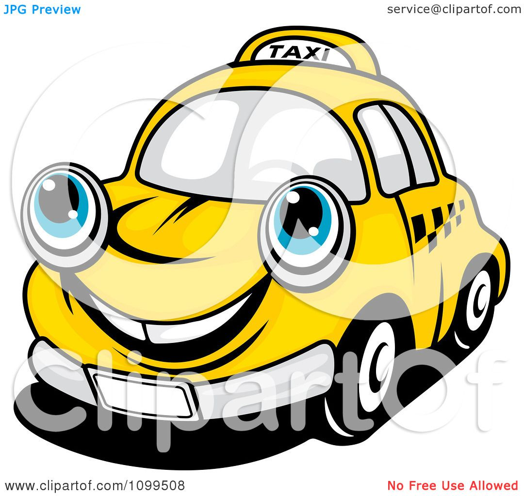 Clipart Happy Yellow Taxi Cab Smiling - -Clipart Happy Yellow Taxi Cab Smiling - Royalty Free Vector Illustration by  Vector Tradition SM-7