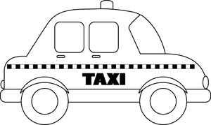 Taxi Clipart Image: Black and White cartoon taxi or taxicab