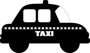 Taxi Clipart Image: Cartoon taxicab with the word u0027taxiu0027 on the side