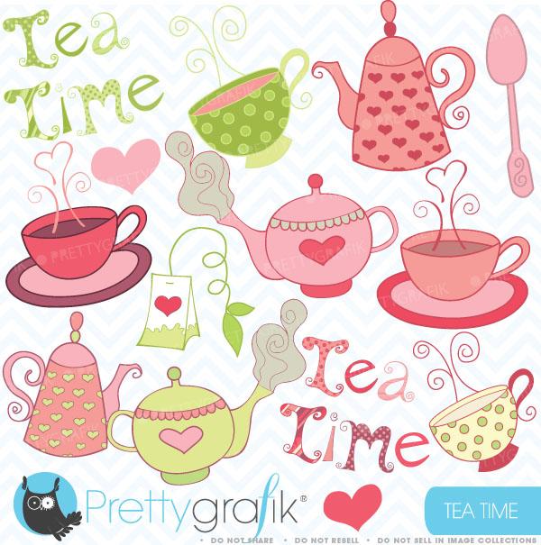 Tea Party Clipart Teapot Clipart Commerc-Tea Party Clipart Teapot Clipart Commercial Use ...-15