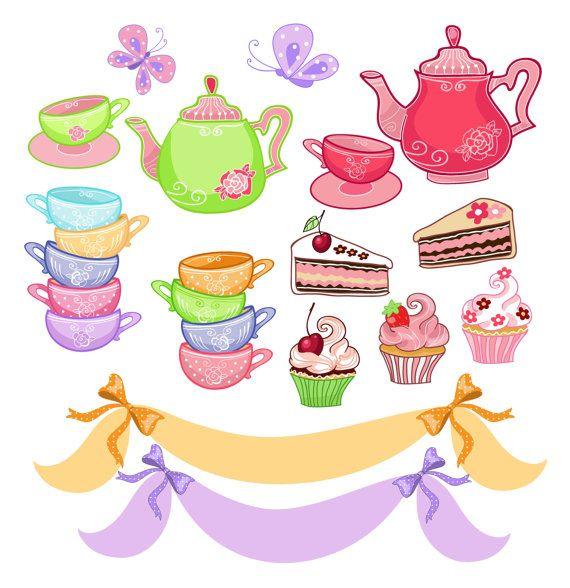 Tea Party Digital Clip Art , Tea Party ,-tea party digital clip art , tea party , french style, paris.-12