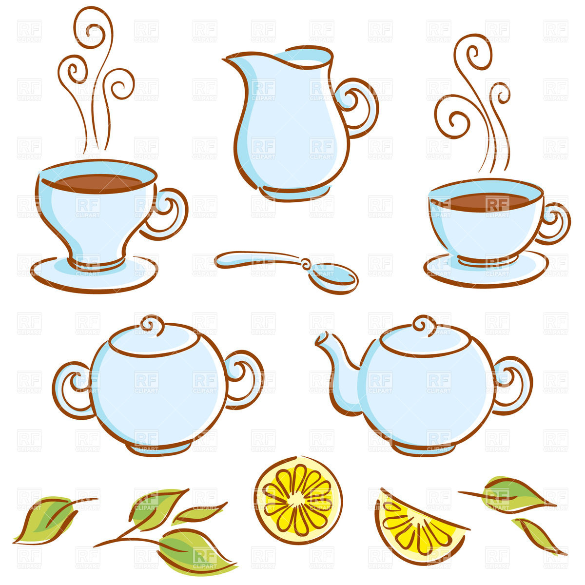 Background With Cartoon Tea-set, Lemon A-Background with cartoon tea-set, lemon and cup of coffee - sugar-bowl,  teapot, cup, saucer, spoon and milk jug Royalty Free Vector Clip Art-2
