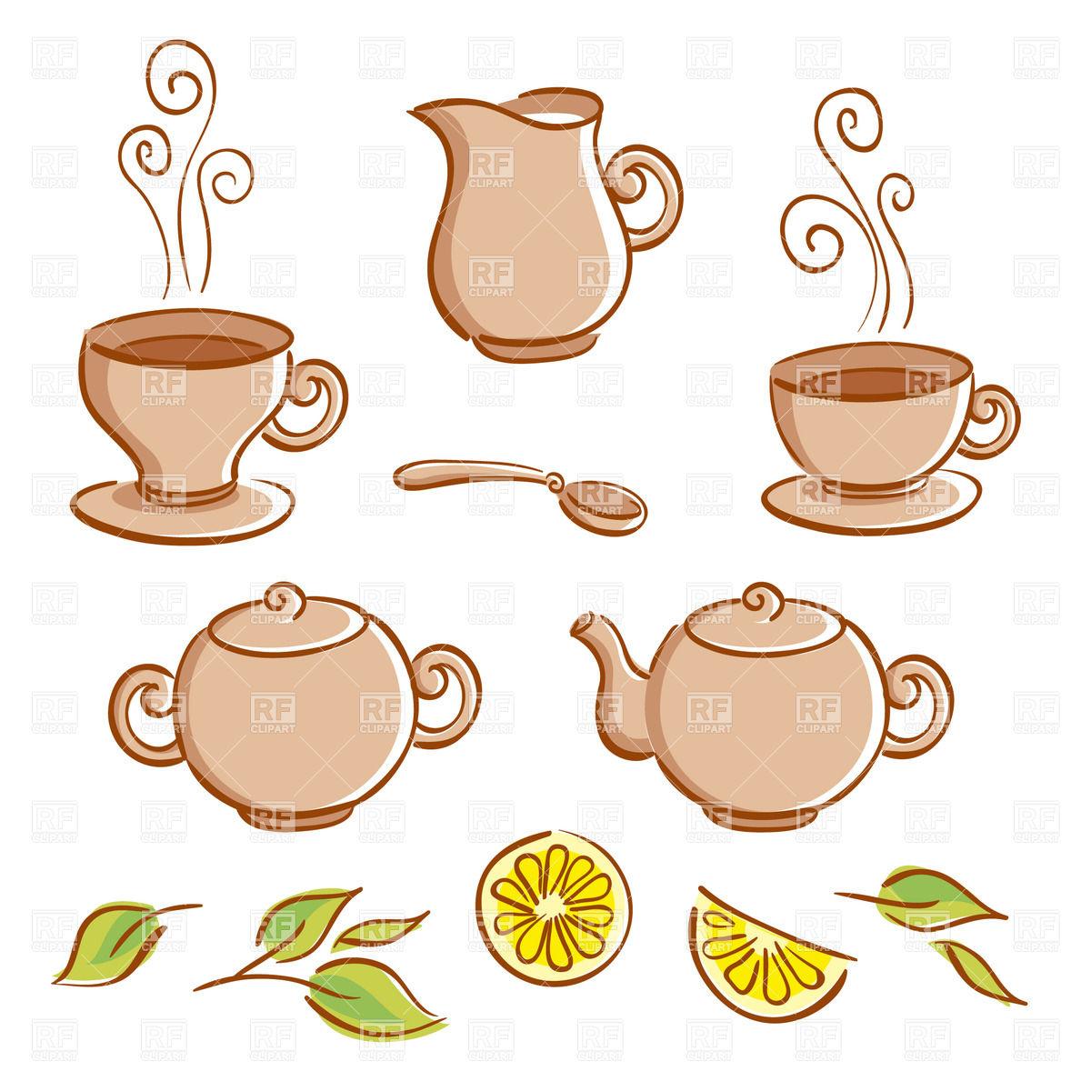 Cartoon Tea Set - Cups, Pots, Jug, Spoon-Cartoon tea set - cups, pots, jug, spoon and lemon Royalty Free Vector Clip  Art-4