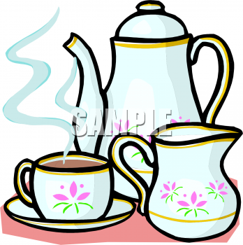 Description: Tea Set Clipart Picture. Th-Description: Tea set clipart picture. This image shows a China pot of  either tea or coffee, a cup of the hot beverage, and a small pitcher of  cream.-6