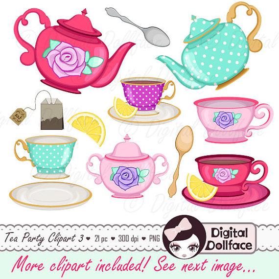 Tea Cup Clip Art, Tea Party Bridal Showe-Tea Cup Clip Art, Tea Party Bridal Shower Clipart, High Tea, Teapot, Tea Set-12