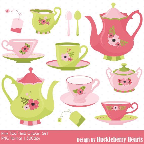Tea Time Clipart, Tea Party Clipart, Tea-Tea Time Clipart, Tea Party Clipart, Tea Clipart, Tea Cups, Tea Pots,  Printable, Commercial Use-16