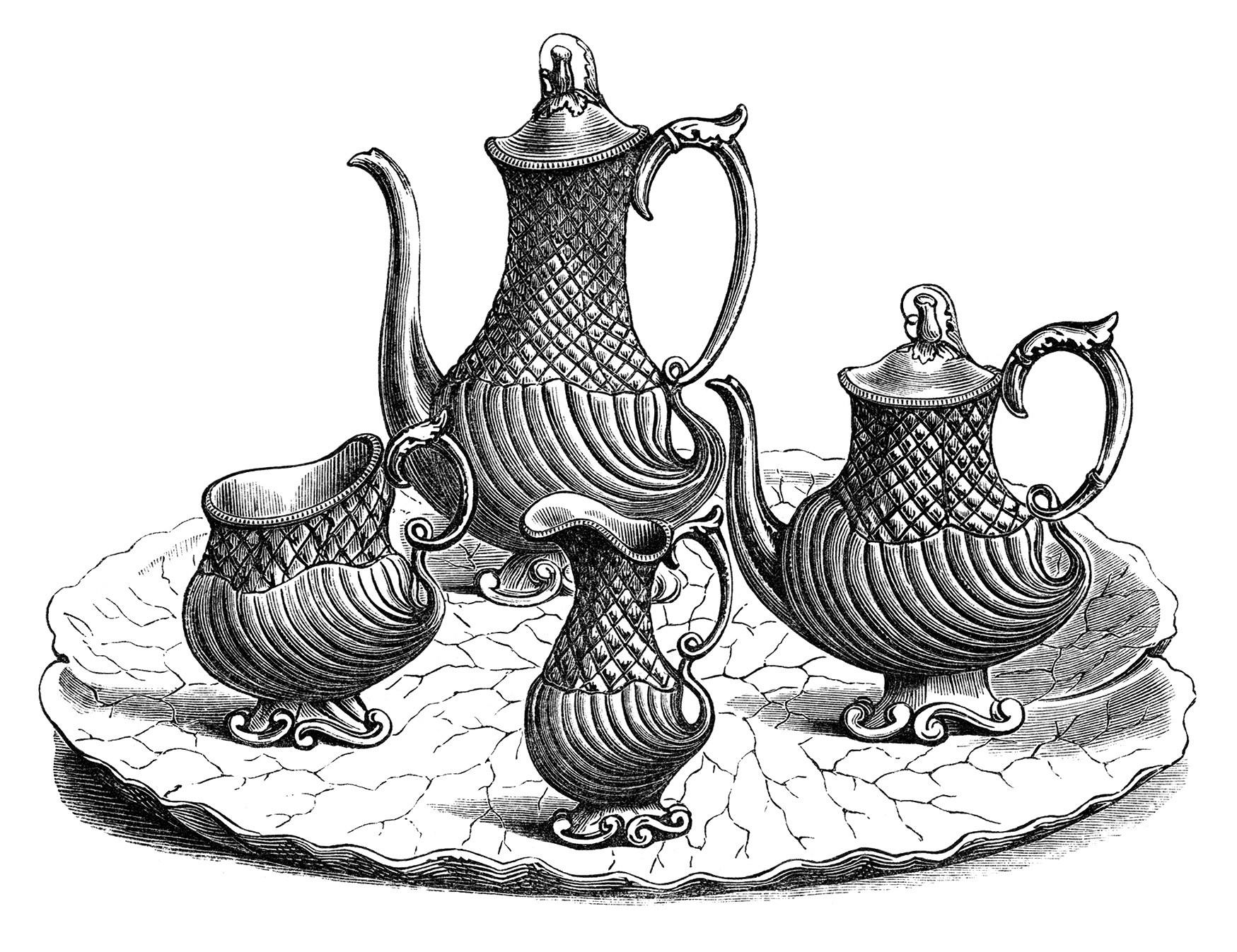 Victorian Tea Set, Vintage Kitchen Clip -victorian tea set, vintage kitchen clip art, black and white clipart,  antique coffee-17