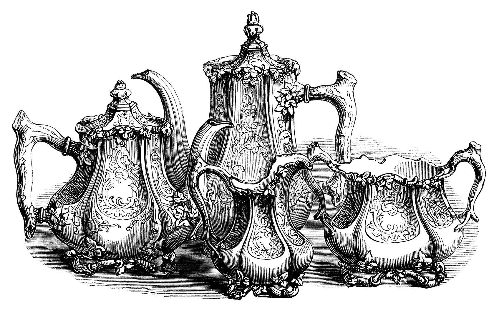 Vintage Tea Set Clipart, Coffee Tea Engr-vintage tea set clipart, coffee tea engraving, free black and white clip  art,-18