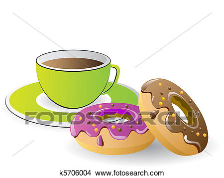Clipart - tea time with coffee and donuts . Fotosearch - Search Clip Art,  Illustration