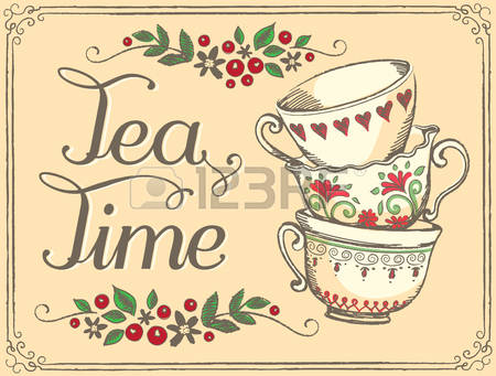 Illustration Tea Time With Cute Cups. Sk-Illustration Tea Time with cute cups. Sketch-5