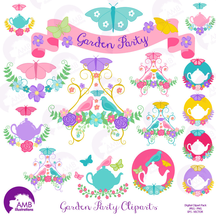 Tea time clipart, Garden clipart, Tea cup, Banner, embellishments, Garden  Party