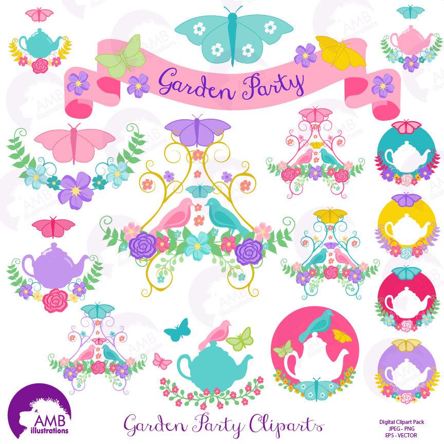 Tea Time Clipart, Garden Clipart, Tea Cu-Tea time clipart, Garden clipart, Tea cup, Banner, embellishments, Garden  Party-12