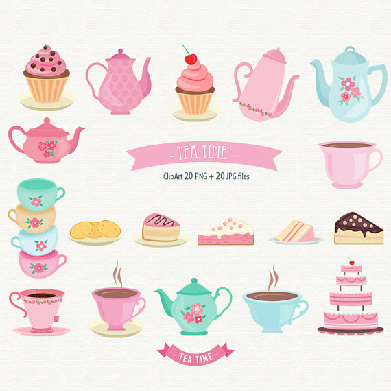 Tea Time Clipart Tea Party Clipart Cake Clipart Cupcake Clipart Teapot  Clipart