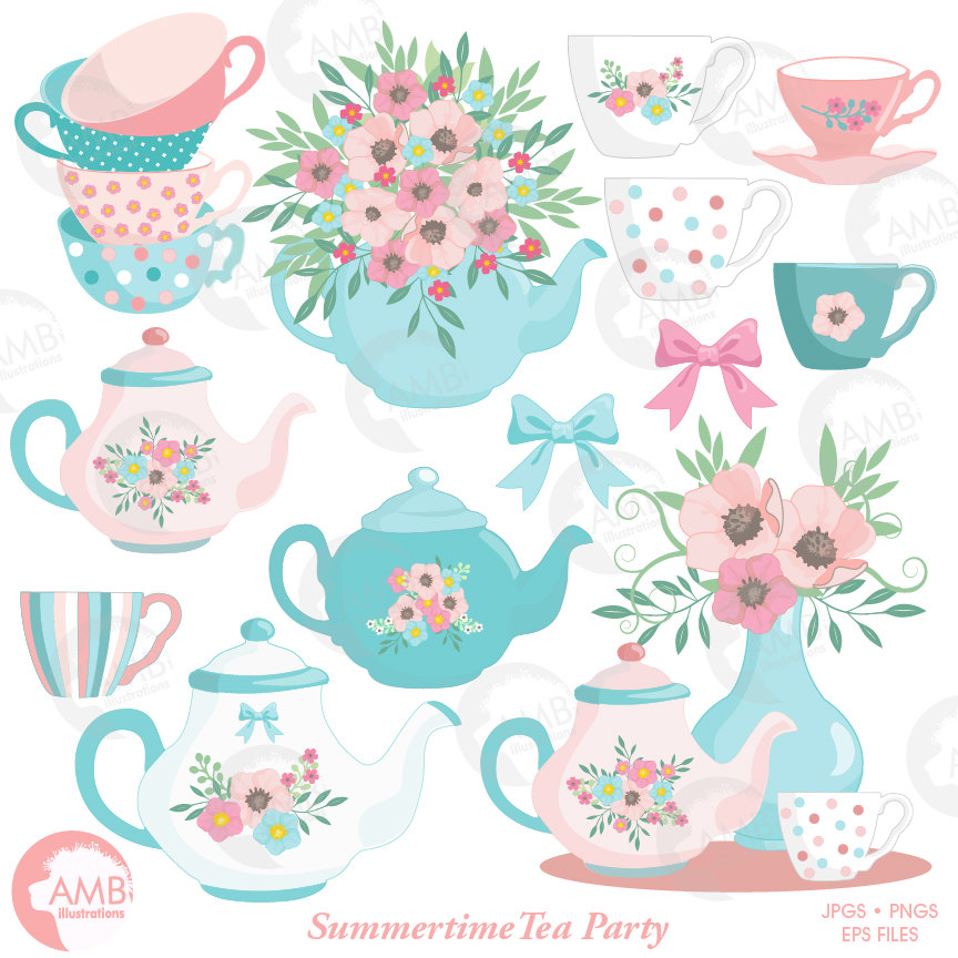 Tea Time Clipart, Teapot, Summer Time Tea Party Clipart, Floral Tea Time  Clipart