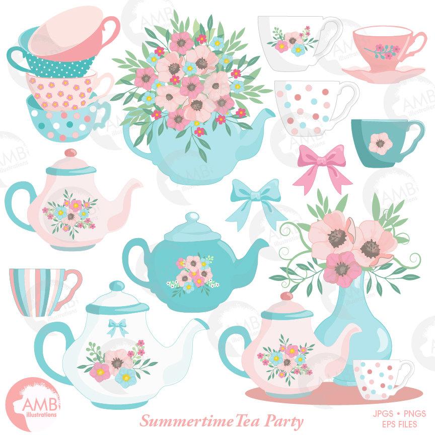 Tea Time Clipart, Teapot, Summer Time Te-Tea Time Clipart, Teapot, Summer Time Tea Party Clipart, Floral Tea Time  Clipart-14