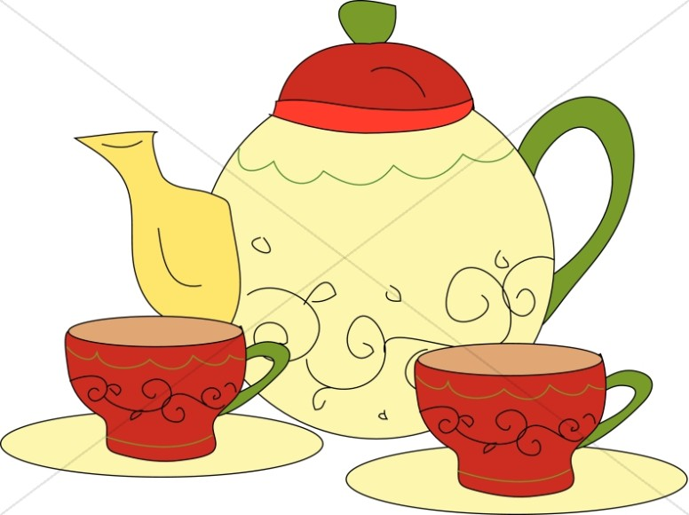 Tea Time With Pot And Cups-Tea Time with Pot and Cups-18