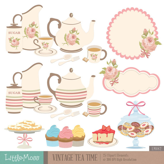 Vintage Tea Time Digital Clipart, Tea Party Clipart, Rose Clipart, Teapot  Clipart, Tea Set, Cupcake, Cookies Jar from LittleMoss on Etsy Studio