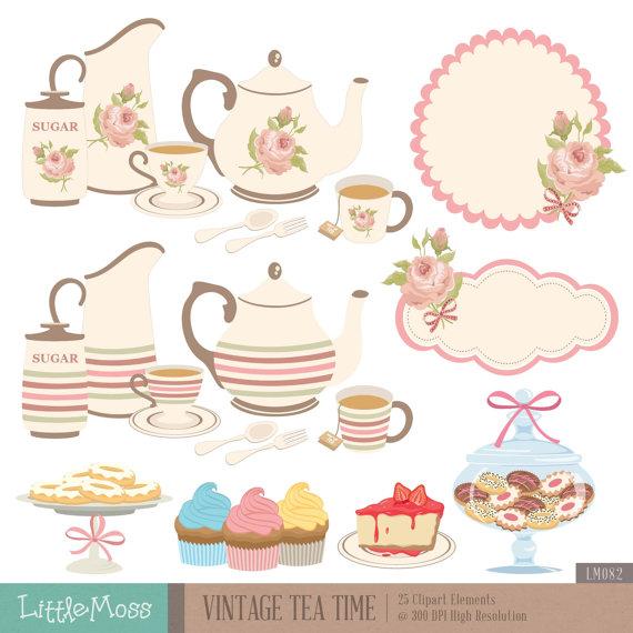 Vintage Tea Time Digital Clipart, Tea Pa-Vintage Tea Time Digital Clipart, Tea Party Clipart, Rose Clipart, Teapot  Clipart, Tea Set, Cupcake, Cookies Jar from LittleMoss on Etsy Studio-19