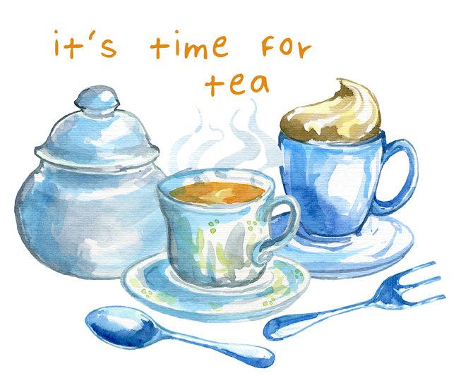Watercolor Clipart Set, Tea Time-Watercolor clipart set, Tea time-20