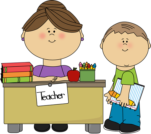 Teacher and Student - Cute Teacher Clipart