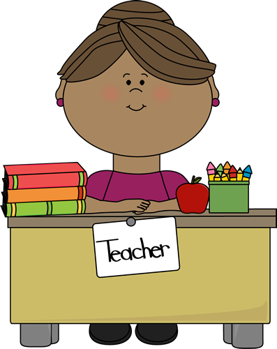 Teacher at a Desk - Free Educational Clip Art