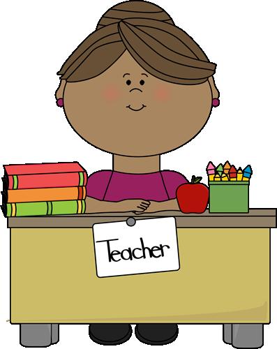 Teacher at a Desk - Free Teacher Clipart