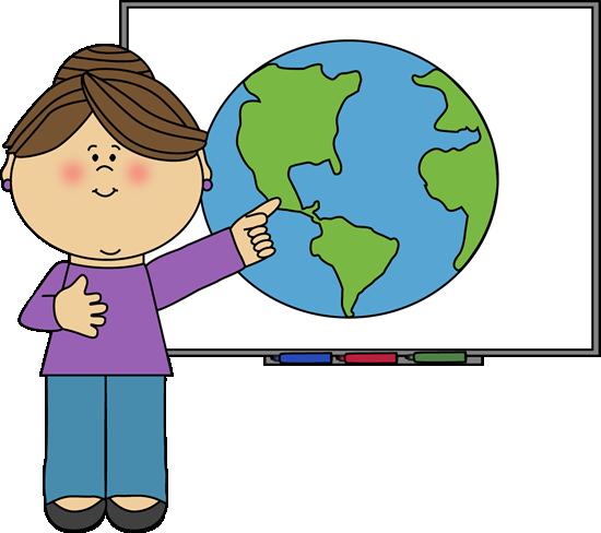 Teacher at Smartboard - Cute Teacher Clipart