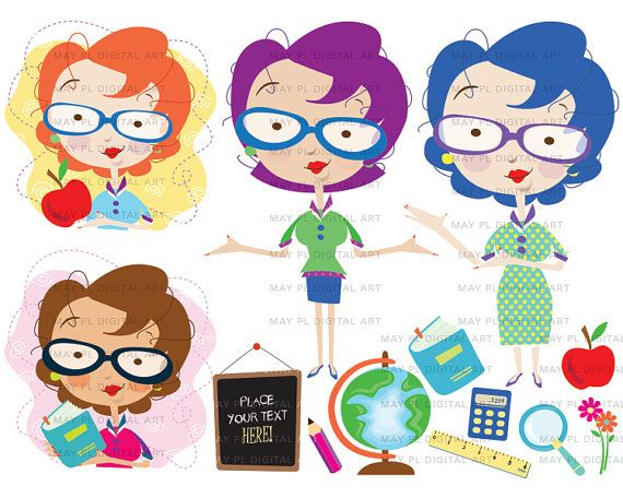 Teacher Classroom Clipart Cute Teacher Graphics Blackboard Ruler Pencil Calculator Globe Apple Magnifying Glass VECTOR Jpeg Png Images 10504