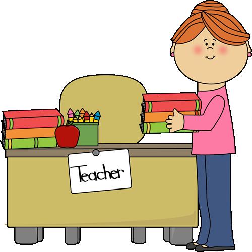 Teacher Putting Books On Desk-Teacher Putting Books on Desk-16