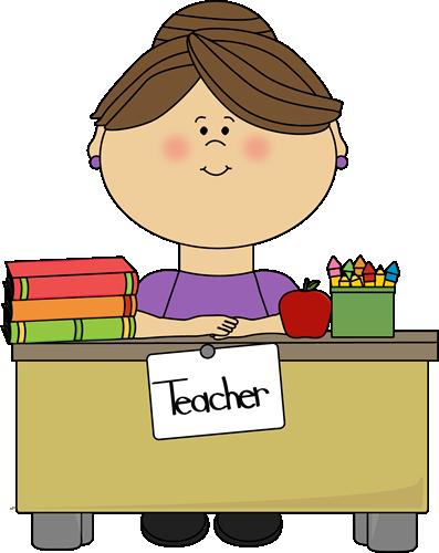 Teacher Sitting at a Desk - Free Teacher Clipart