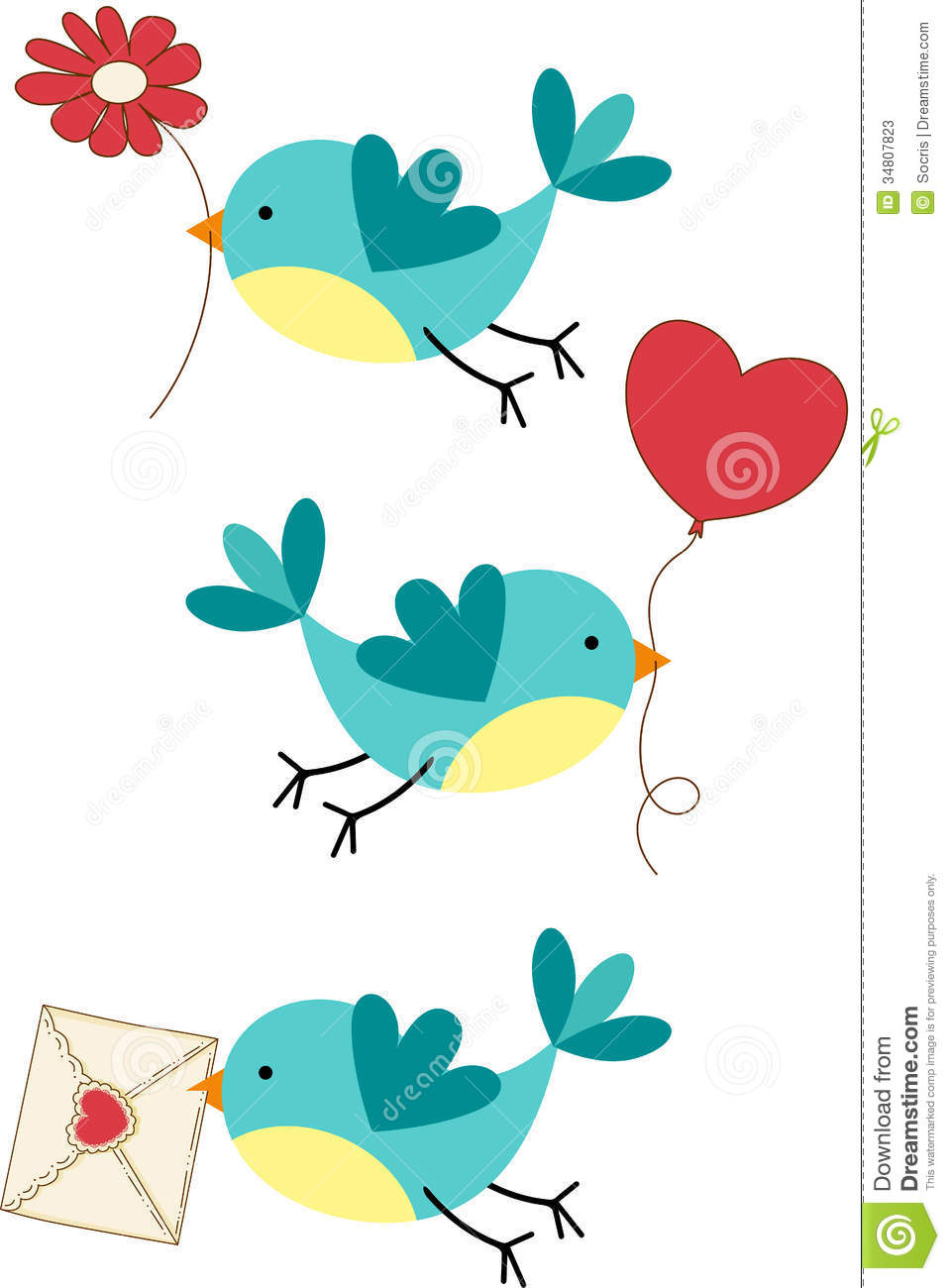 teal love birds clipart - Cute Bird Clipart