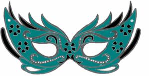 Teal Masquerade Mask Clip Art