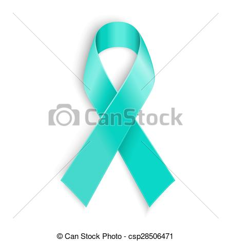 ... Teal ribbon symbol of scleroderma, ovarian cancer, food.