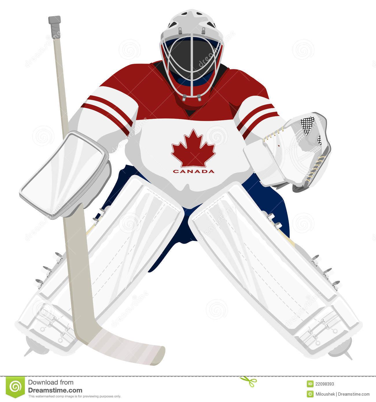 Team Canada Hockey Goalie Isolated Illus-Team Canada Hockey Goalie Isolated Illustrations-14