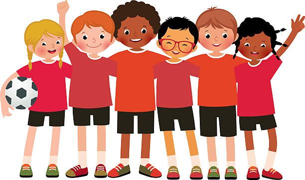 International Group Kids Soccer Team On -International group kids soccer team on a white background vector art  illustration-8