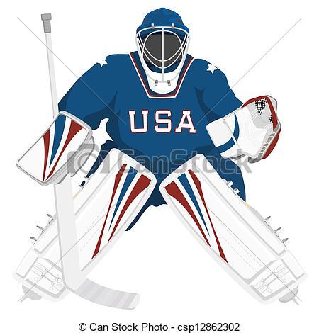 Team USA Hockey Goalie, Isolated Vector -Team USA hockey goalie, isolated vector illustrations-16