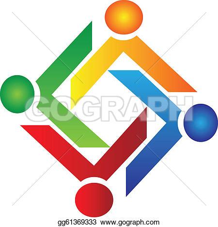 ... Teamwork charity people logo vector