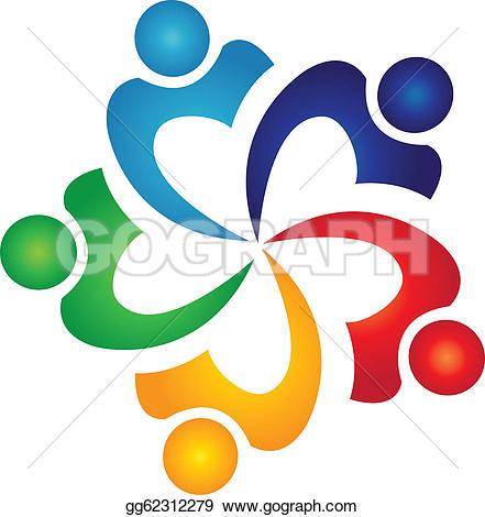 Teamwork graduates students logo u0026middot; Teamwork swoosh people logo vector