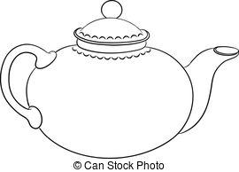 ... Teapot, contour - China round teapot with a cover, graphic.