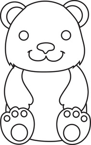 Teddy Bear Clipart Image Smiling Teddy Bear In Black And White