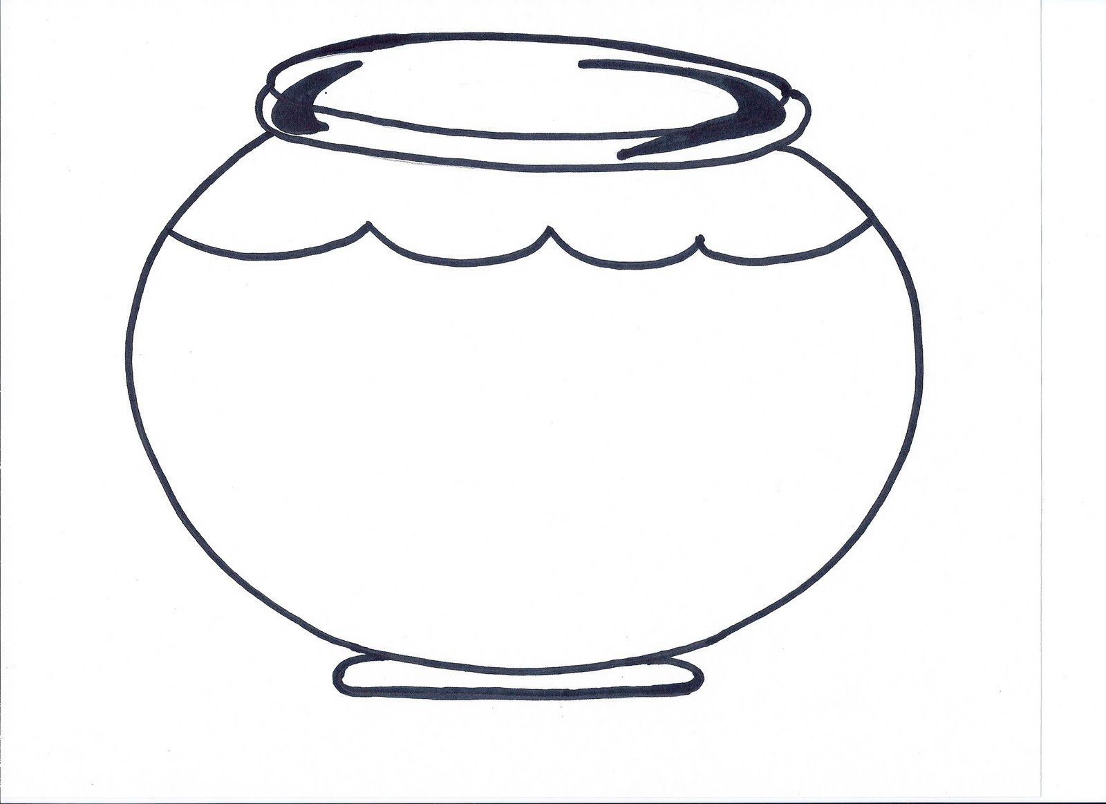 Template of fish bowl clipart