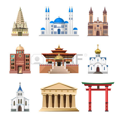 Cathedrals, churches and mosques vector building set. Collection of temple  buildings and architecture.