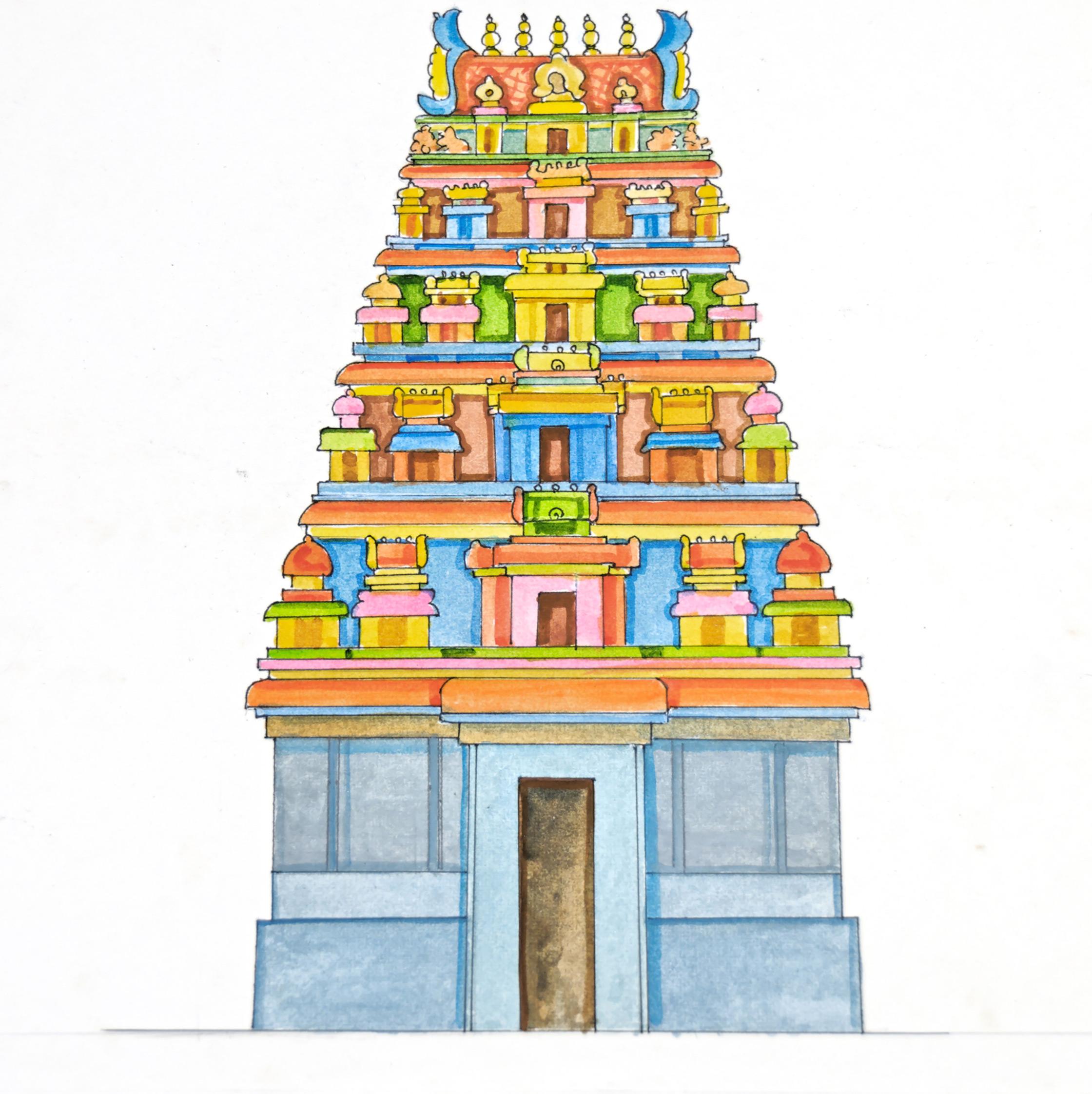 temple gopuram clipart 10
