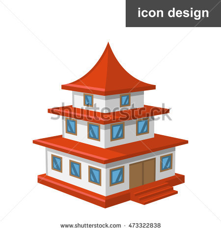 Vector clipart icon old asian temple