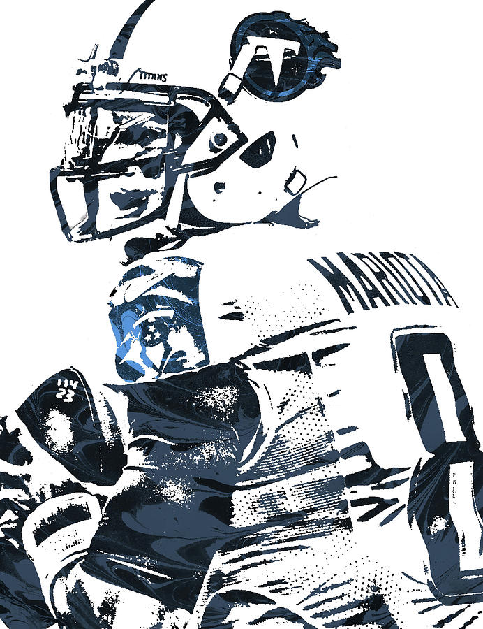 Marcus Mariota Mixed Media - Marcus Mariota Tennessee Titans Pixel Art by  Joe Hamilton