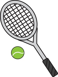 Tennis ball and racket clip .