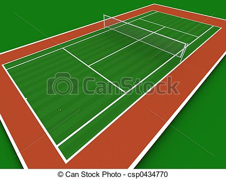 ... Tennis court in perspecti - Tennis Court Clipart