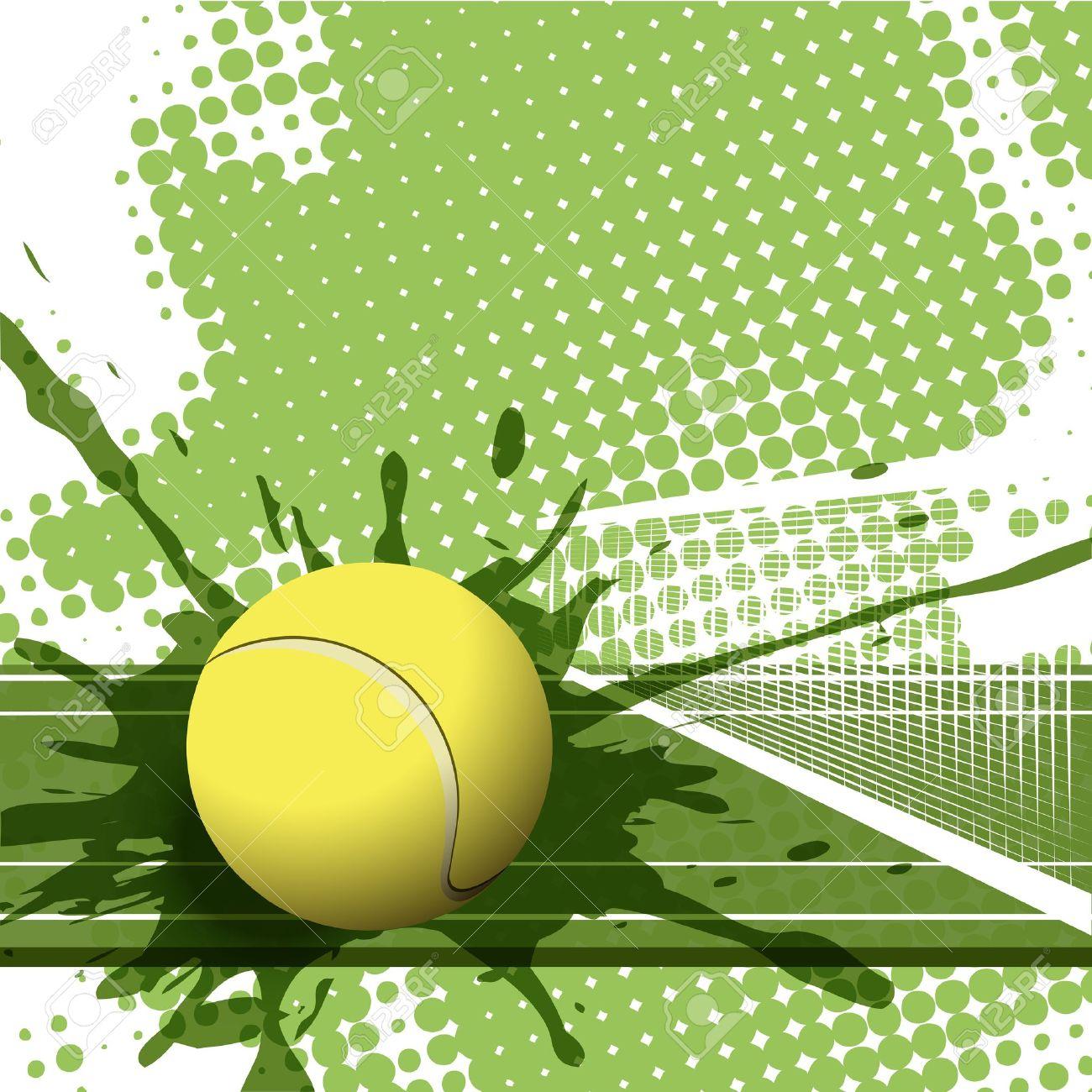 tennis: illustration tennis ball on abst-tennis: illustration tennis ball on abstract green background-7