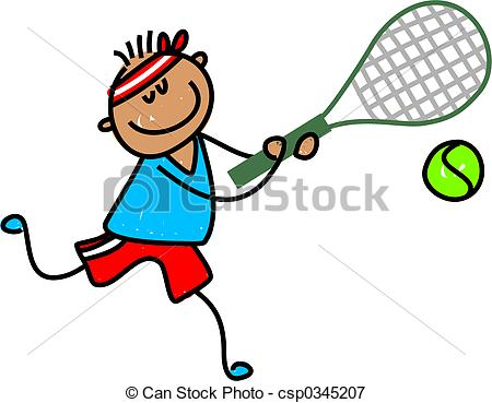... tennis kid - little ethnic boy playing tennis - toddler art... ...